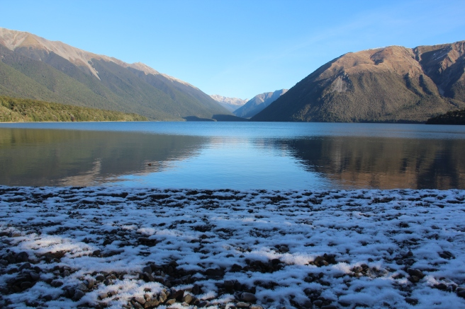 Snow into lake!
