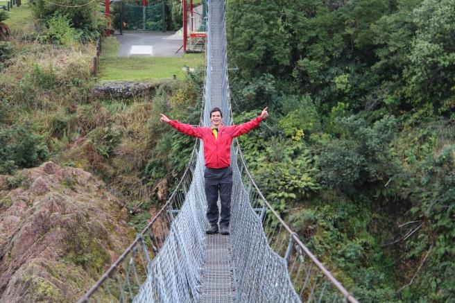 Elliot on the longest swing bridge.