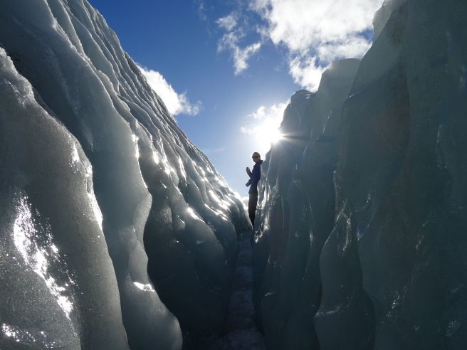 At the top of a crevasse